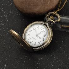New Fashion Antique Bronze Punk Round Pocket Watch Necklace For Women and Men With Long Chain