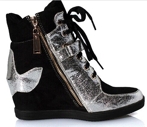 ENMAYER Wedges Sneakers, Genuine Leather 3 styles, Double-sided zipper, Size 35 ~ 40 Height Increasing 7.5cm, Women Shoes Boots<br><br>Aliexpress