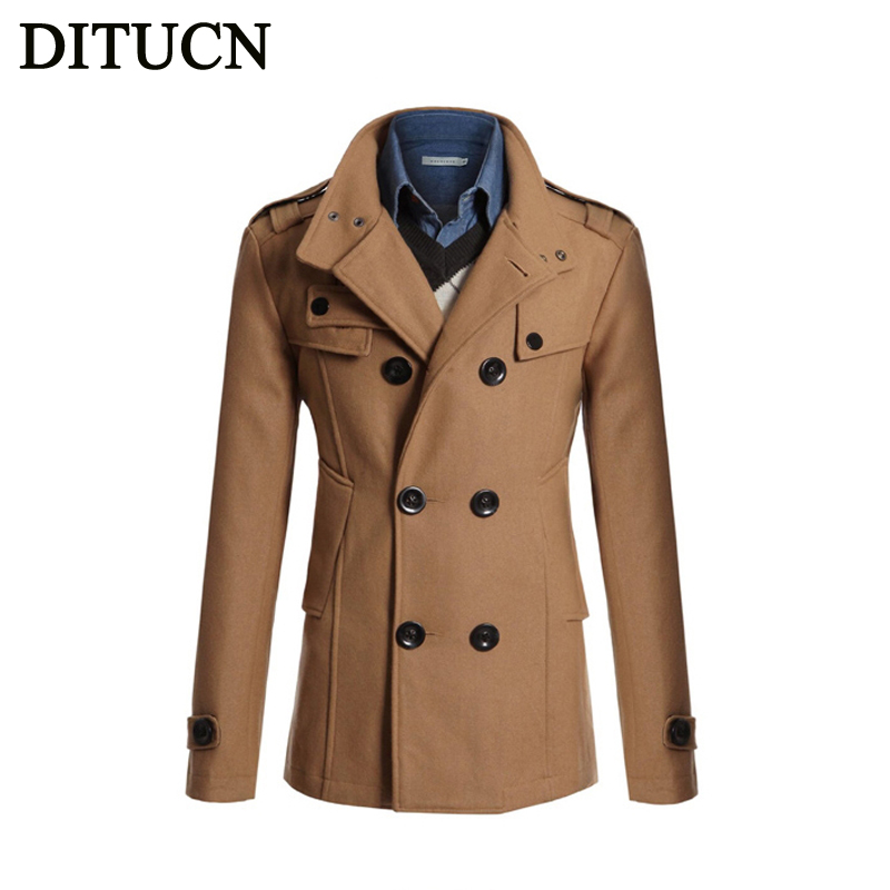 2016 NEW Winter Men Trench Coat Long Fashion Stylish Double-breasted Overcoat Thick Warm Men Trench FREE SHOPPING DITUCN(China (Mainland))