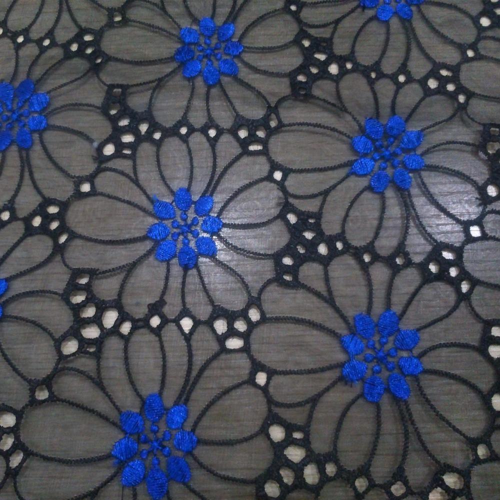 De alta calidad de encaje de organza africano en azul rojo blanco bordado organza ahueca hacia fuera el organza de material de tela para el vestido de dama de 5 yardas(China (Mainland))