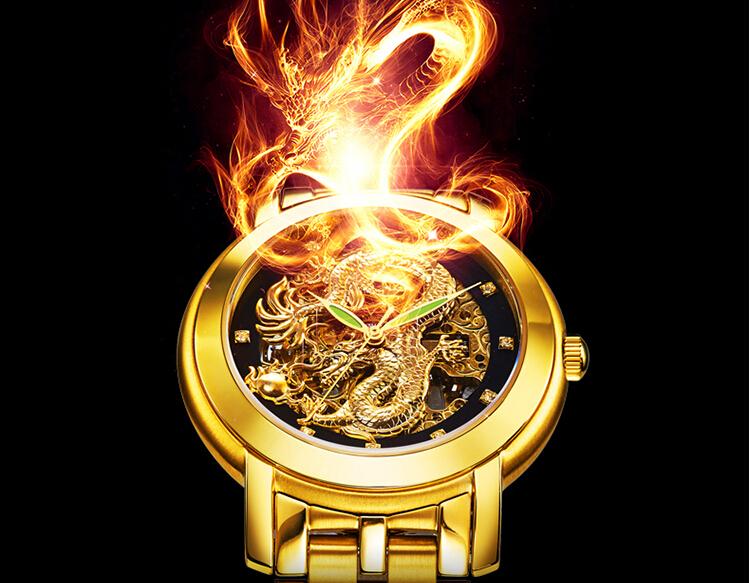 Mechanical Dragon Wrist Watch 2015 Hot Mechanical Waterproof Hollow Out Ultra thin Watches Men chinese Wrist
