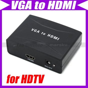 PC DVD VGA Component Video+ R/L Audio to HDMI Converter Adapter Box for HDTV w/Power Supply #3091