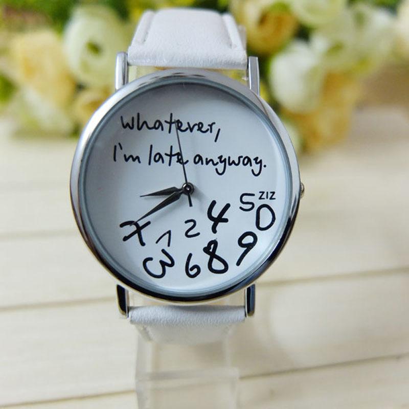 Gofuly 2015 New Style Whatever I'm late anyway Irregular Figure Women Wristwatch Fashion Men Watches Quartz Watch Relogio(China (Mainland))