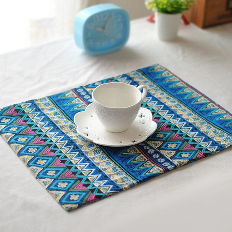 Vintage Printed Linen Kitchen Decoration Accessories Insulation Pads Double Sided Dining Table Placemats Wholesale(China (Mainland))
