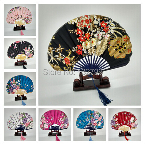 Vogue Lady Silk Fans Shell Style Bamboo Folding Hand Dancing Dance Flower Fan Wedding Bridal Party Decor Cool Summer Gifts()