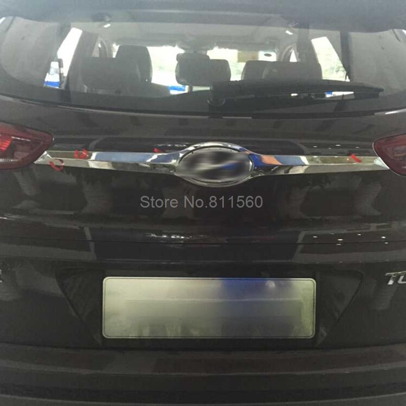 For Hyundai Tucson SUV 2016 2017 1PC/SET ABS Chromed Plastic Rear Trunk Lid Cover Trim Around Logo Automobile Exterior Mouldings