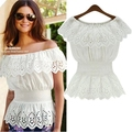 2016 Summer Style Women Shirts Blouses Short Sleeve Off The Shoulder Tops Chiffon Shirt Fashion White