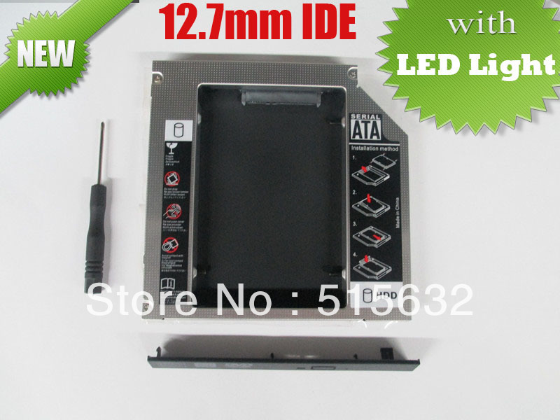 2013 new high quality IDE to SATA Hard Drive Caddy to Optical CD Bay Adapter 12.7mm universal 2nd HDD Caddy with LED light(China (Mainland))
