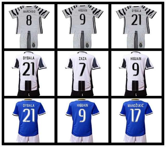 Free patches 2017 Juventuses kids Suite clothes the best Quality 16 17 Child kit Home white Away blue free shipping(China (Mainland))