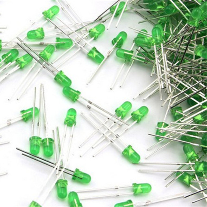 50 Round Diodes Kit Diffuse Emerald-Green 3mm Round LED Electronic Components(China (Mainland))