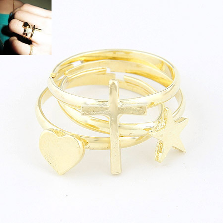 2015 Fine Korean Fashion Jewelry Gold Plated Prayer Star Heart set of 3 Open size the Ring for Women(China (Mainland))