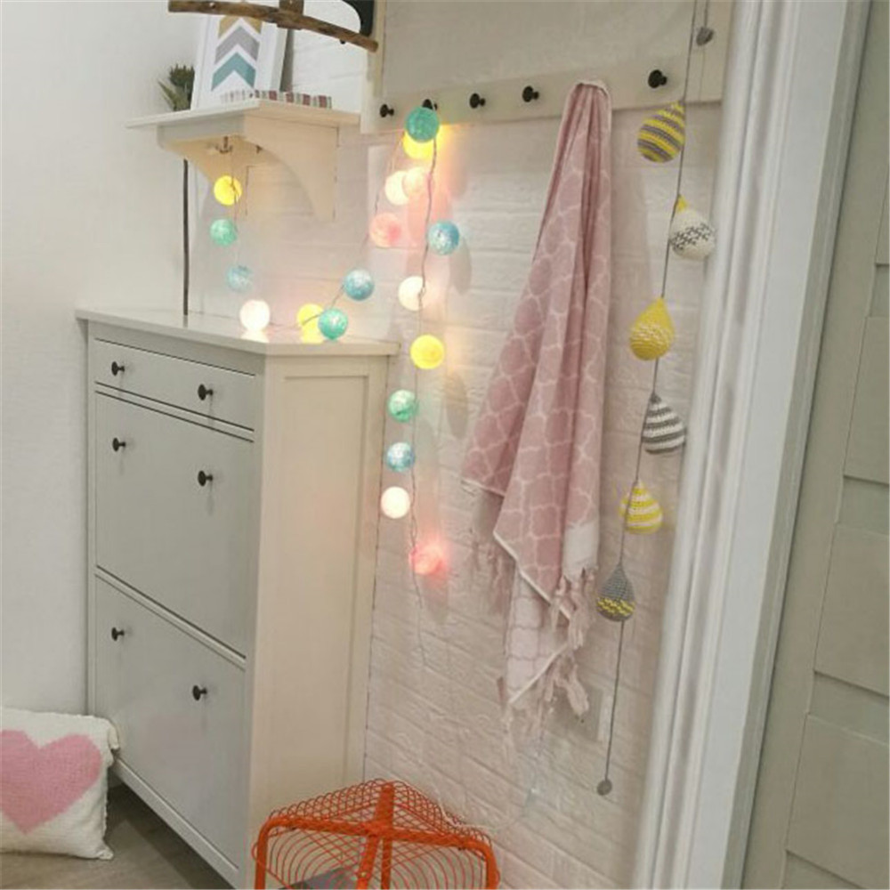Weeding Party Decoration Light Warm White 20Pcs/lot Cotton Led Christmas Ball String Lights XMas Decoration Lighting