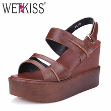 Factory Discount Genuine Leather Women Sandals Fashion Wedges Sandals High Heels Platform Shoes Cutouts Summer Sandals(China (Mainland))