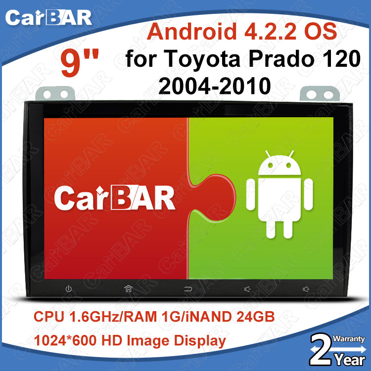 "C200 9"" Screen Android 4.2.2 Car DVD GPS Audio Radio Navigation Player for Toyota Prado 120 2004-2010 1024*600 iNAND 24G CARBAR(China (Mainland))"