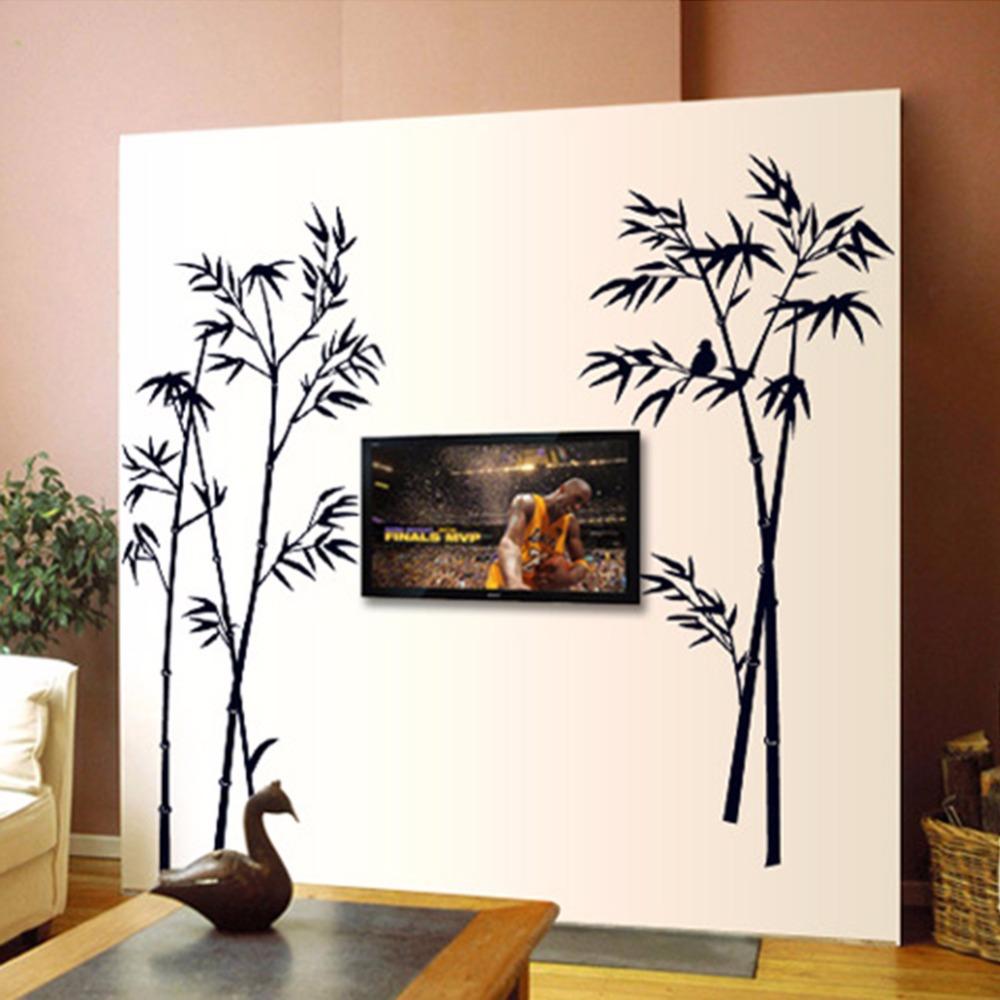 DIY Removable Art Vinyl Black Bamboo Wall Sticker Decal Mural Home Room Decor(China (Mainland))