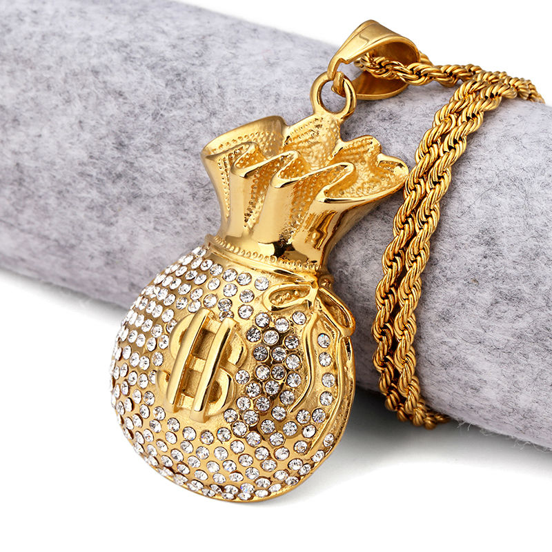NYUK Gold Plated Purse Pendant Necklace Crystal Rhinstone Dollar Sign Cool Fashion Money Bag Shape Hip Hop Men Jewelry For Gifts(China (Mainland))