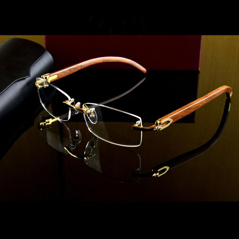 brand quality reading glasses men rimless glasses frame ...