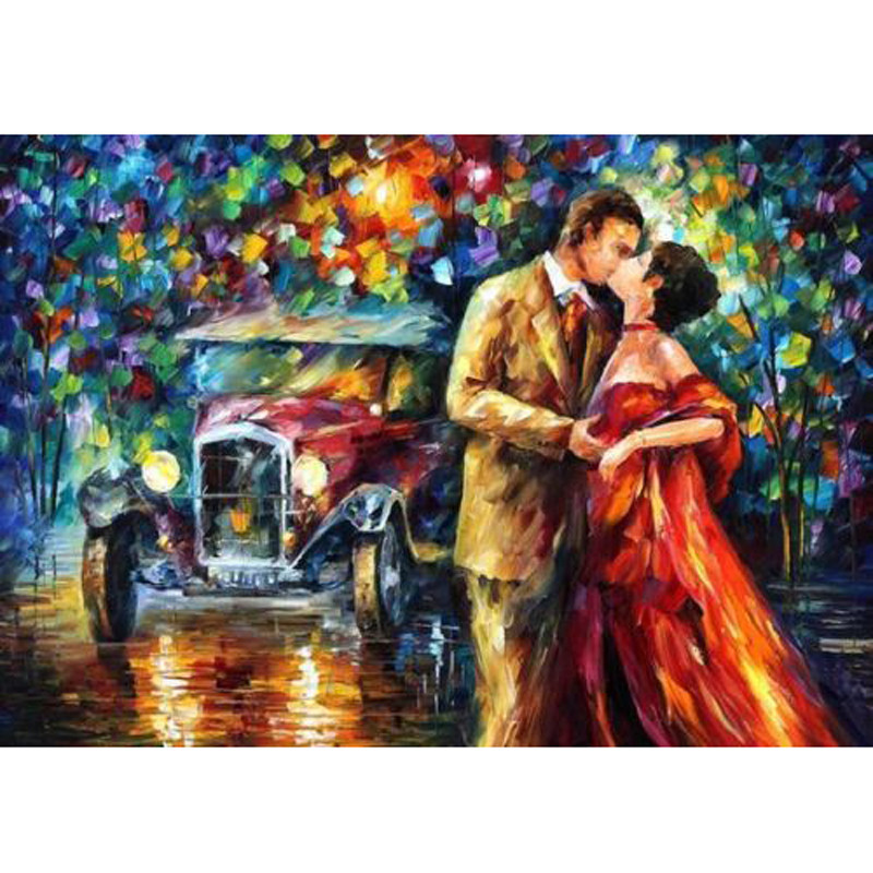 Buy Lover in Landscape 100% Hand Painted Palette Knife Oil Painting on Canvas No Frame Christmas gifts wall art home decoration cheap