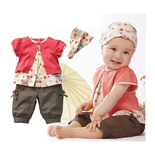 3pcs Cotton Kids Children Baby Girl Clothes Infant Headband+Top+Pants Shorts Trousers Outfit Clothing Ropa de BebeSet 10-24M(China (Mainland))