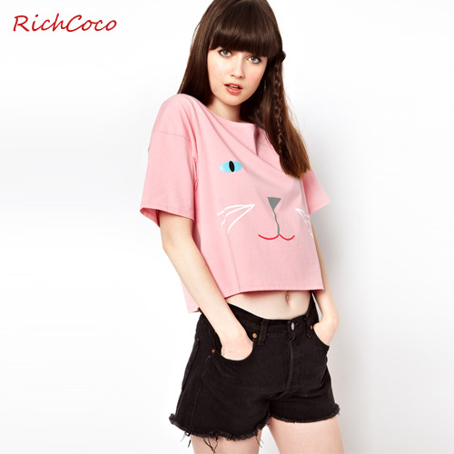 2015 Women's Fashion New European and American wind is pure and fresh and lovely hello Kitty printing easing round collar short(China (Mainland))