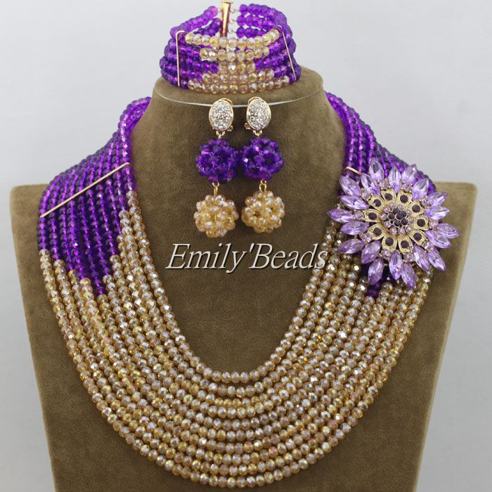 2015 Purple Nigerian Wedding Costume African Crystal Beads Jewelry Set Gold Indian Bridal Necklace Jewelry Set AMJ698(China (Mainland))