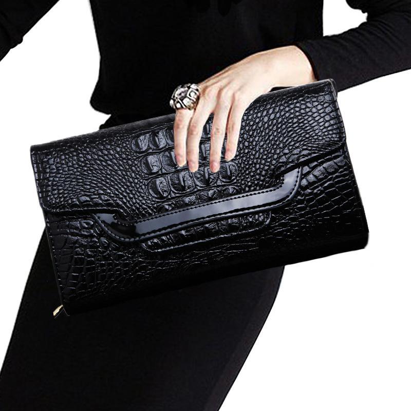 Women's handbags crocodile leather clutch bag black 2016 new tide trilateral slung clutch hand bag large(China (Mainland))