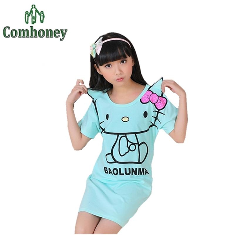 Hello Kitty Girls Nightgowns Dress Toddler Girls Night Gowns Dressing Gowns For Girls Children Nightdress Pizama Kids Sleep Wear(China (Mainland))