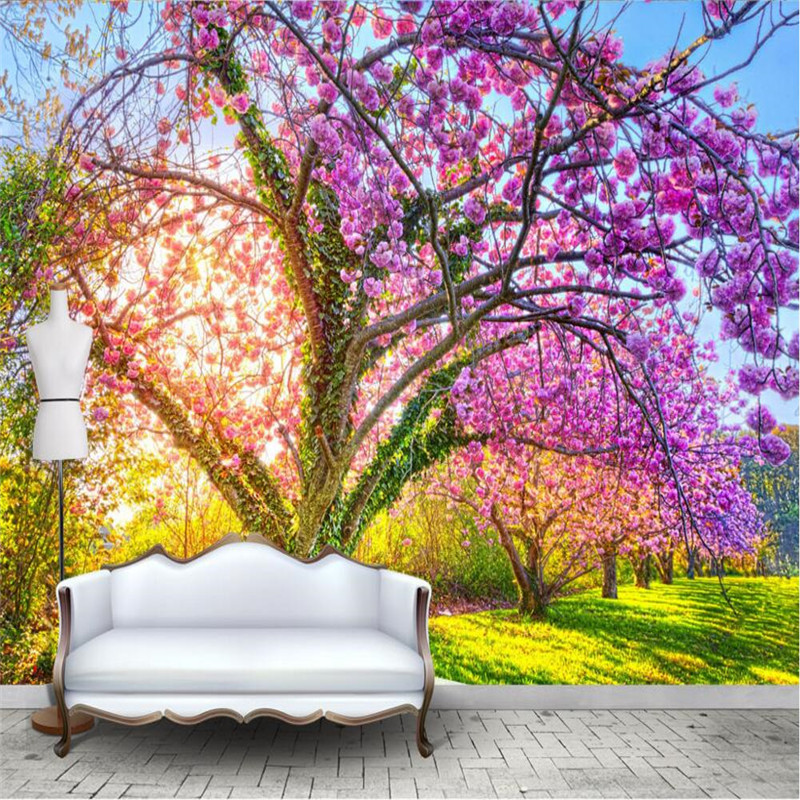 Photo wallpaper custom wallpaper beautiful garden cherry for Cherry blossom tree wall mural