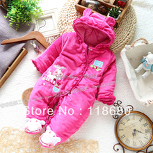 Free shipping Retail new 2014 autumn winter romper baby clothing christmas baby jumpsuit newborn baby girl warm cotton overall(China (Mainland))