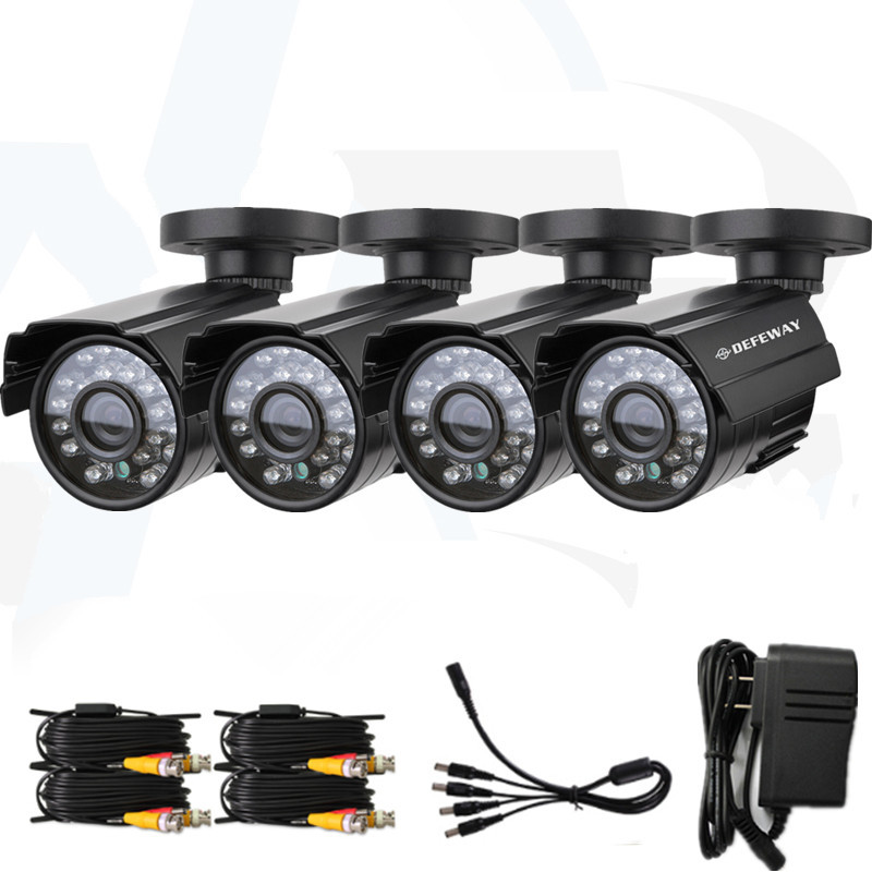 4pcs/lot 24Pcs Led Security surveillance Camera Color 700TVL CCTV Camera night Vision waterproof CMOS Camera+BNC cable+adaptor(China (Mainland))