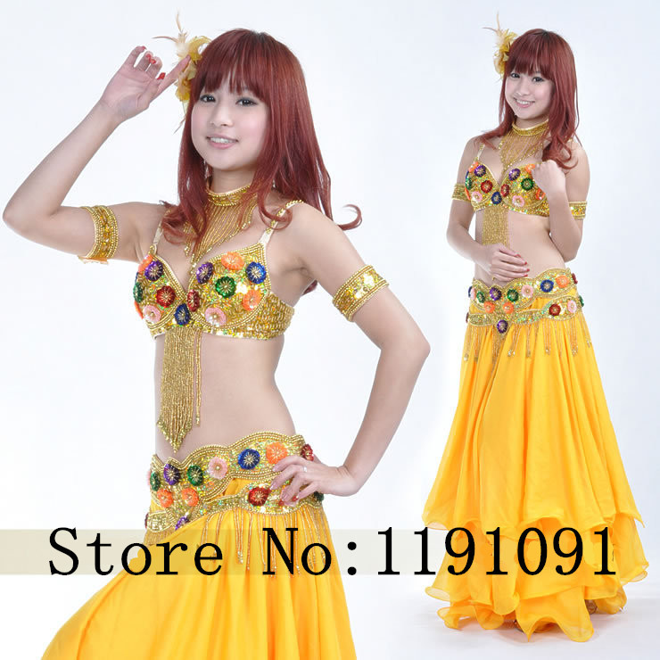 Belly dance costume clothes indian dance set bellydance wear 4pcs Bra&Belt&Necklace&Bracelace 8 colors 835#