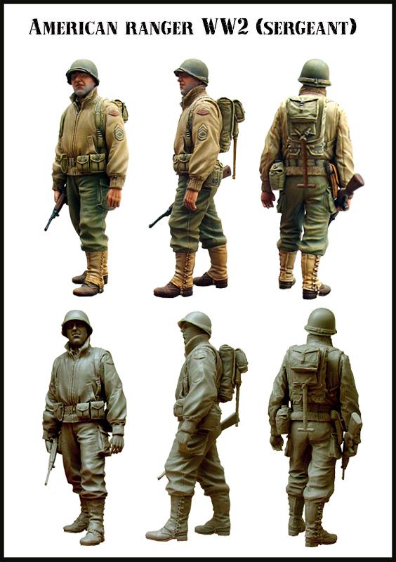 Free Shipping 1/35 Resin Figure American Ranger WW2(sergeant)(China (Mainland))