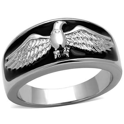 Mansaku Stainless Steel Men's Ring American Flying Eagle High Polished No Plating Black Expoy Environmental Friendly Lead Free(China (Mainland))