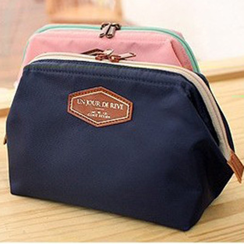 fashion women cosmetic bag solid makeup bag cosmetic cases nylon organiseur de sac neceser hombres transparent cosmetic bag(China (Mainland))
