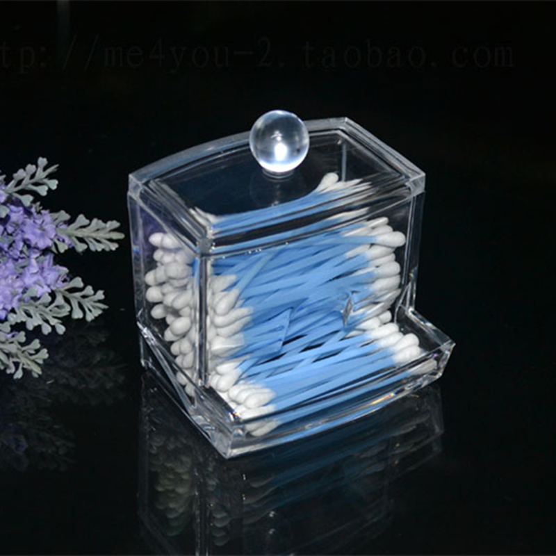 Fashion Design Box Cosmetic Makeup Case Clear Acrylic Cotton Swab Q-tip Storage Holder(China (Mainland))