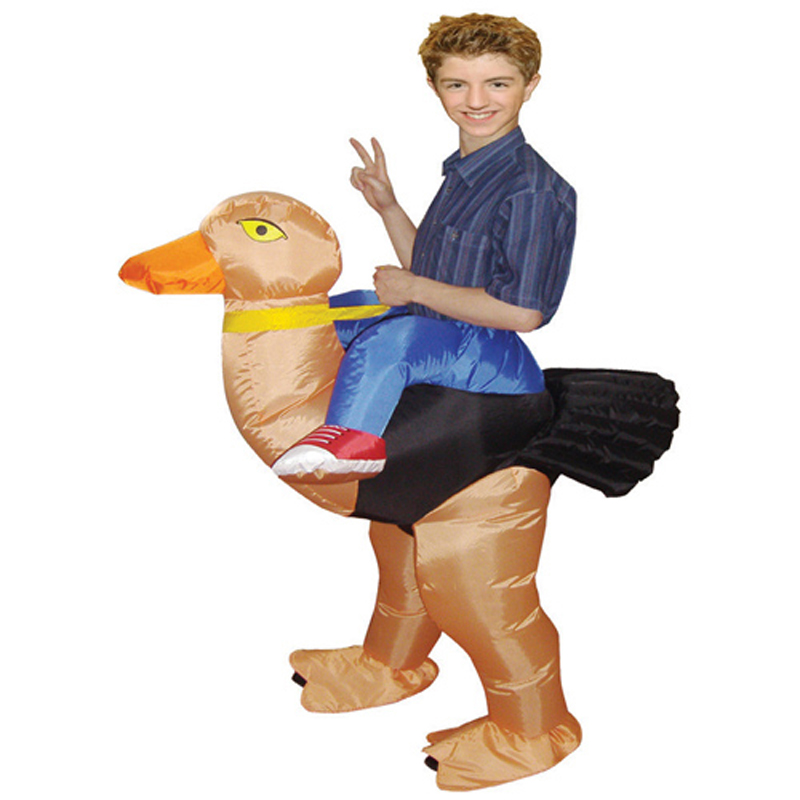 Newest 1.2-1.5m Kids Party Ostrich Halloween Costume Funny Inflatable Unique Kids Costumes Polyester Ostrich Costume For Kids(China (Mainland))