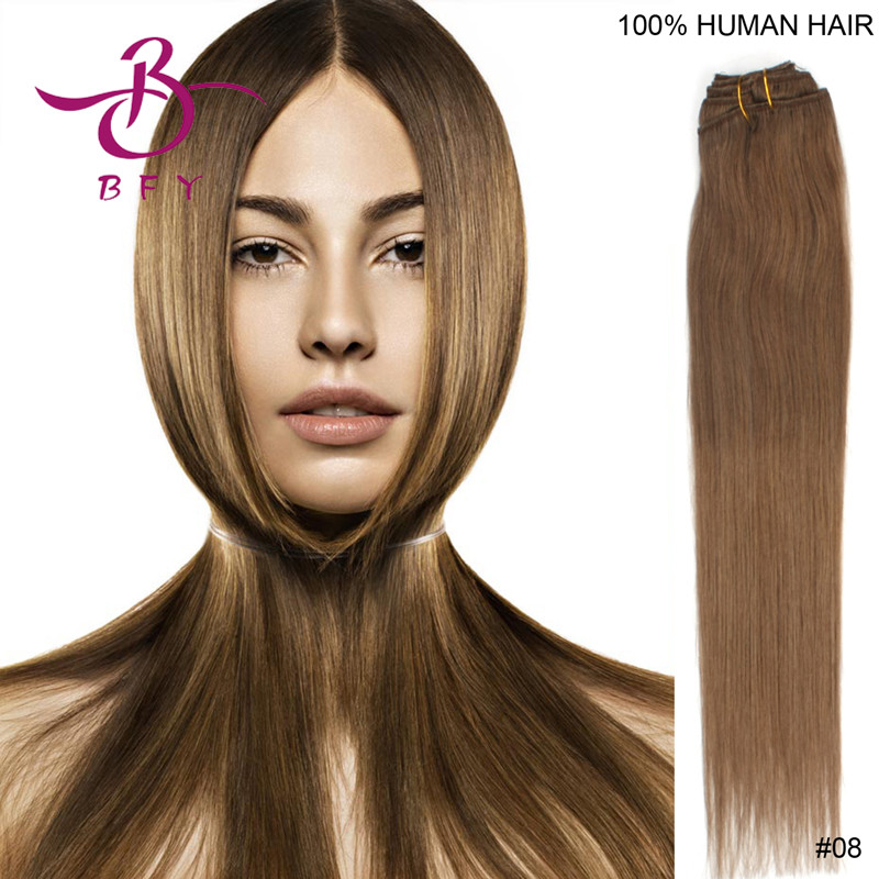 15inch-38cm 7pcs/pack clip in Remy human hair extension #8 chestnut brown 70g<br><br>Aliexpress