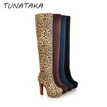 Women Suede Thigh High Boots Sexy Fashion Over the Knee Boots Platform Chunky Heels Plus Size