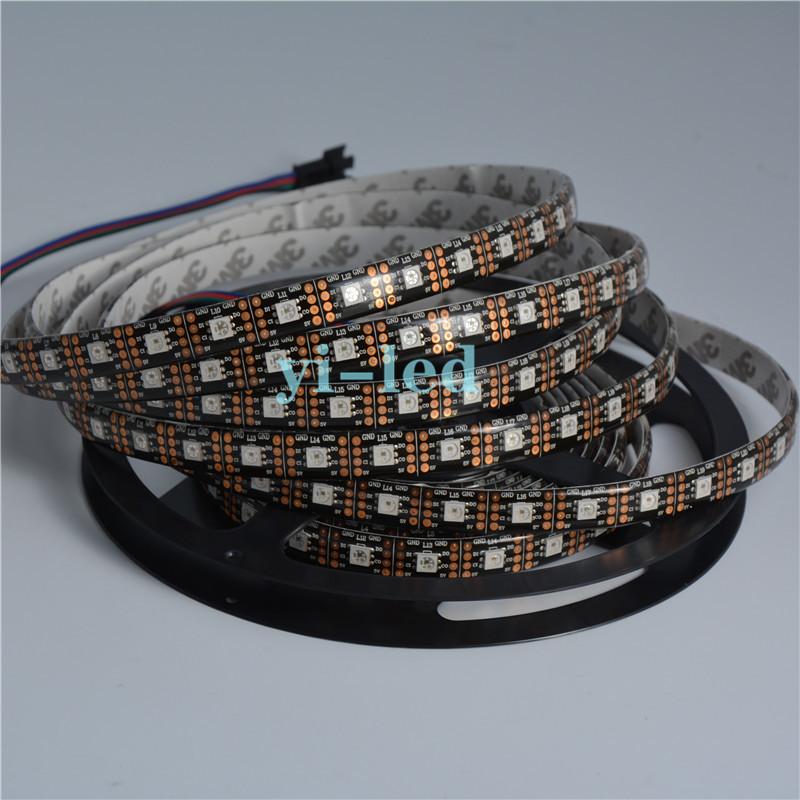 Wholesale 50m 10x5m APA102 60LEDs/m Black PCB Waterproof in silicon coating IP65 LED Srip Light DATA and CLOCK seperately DC5V(China (Mainland))