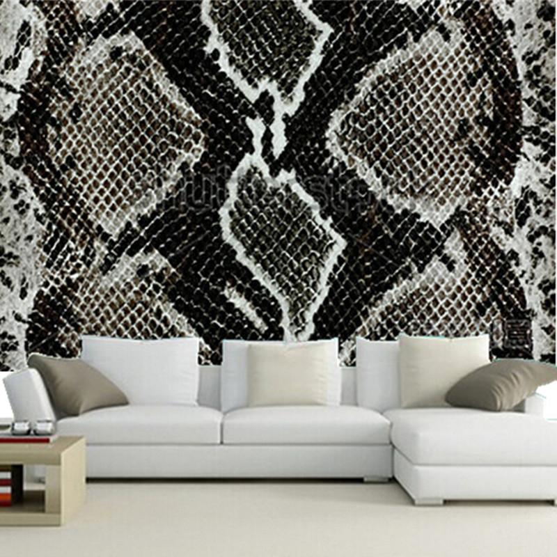 The custom 3d murals snake skin reptile paper papel de - Tete de lit papier peint imitation cuir ...