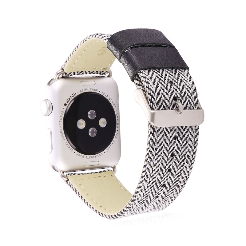 Fabric Watch Strap Watchband For Applewatch 38MM/42MM Black White Band Watch Strap Men/Women 2016 New APB2226(China (Mainland))