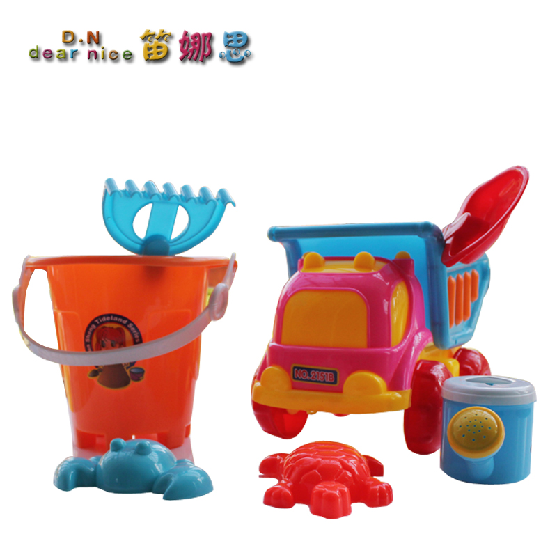 Beach Toy Set Child Sand Tools Piece Plastic Dump Bucket Shovel(China (Mainland))