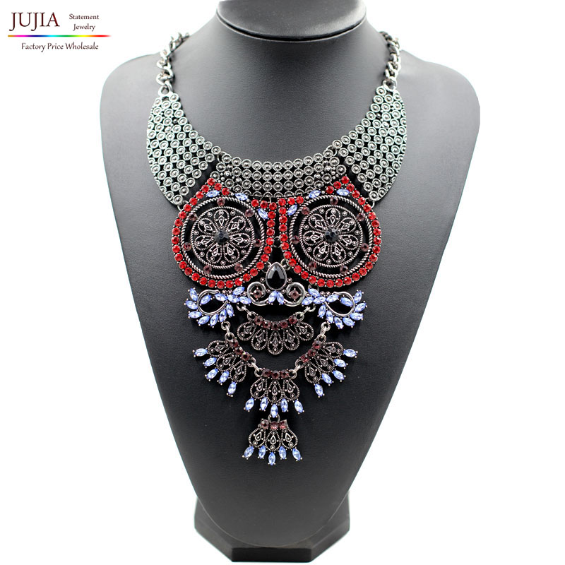 New Owl necklace 3 colors 2015 New design wholesale factory sale fashion necklace metal chain chunky statement Necklace(China (Mainland))