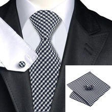 SN-774 Black White Striped Men's Silk Ties for men Tie Hanky Cufflinks Sets Formal Wedding Party Groom Freeshipping(China (Mainland))