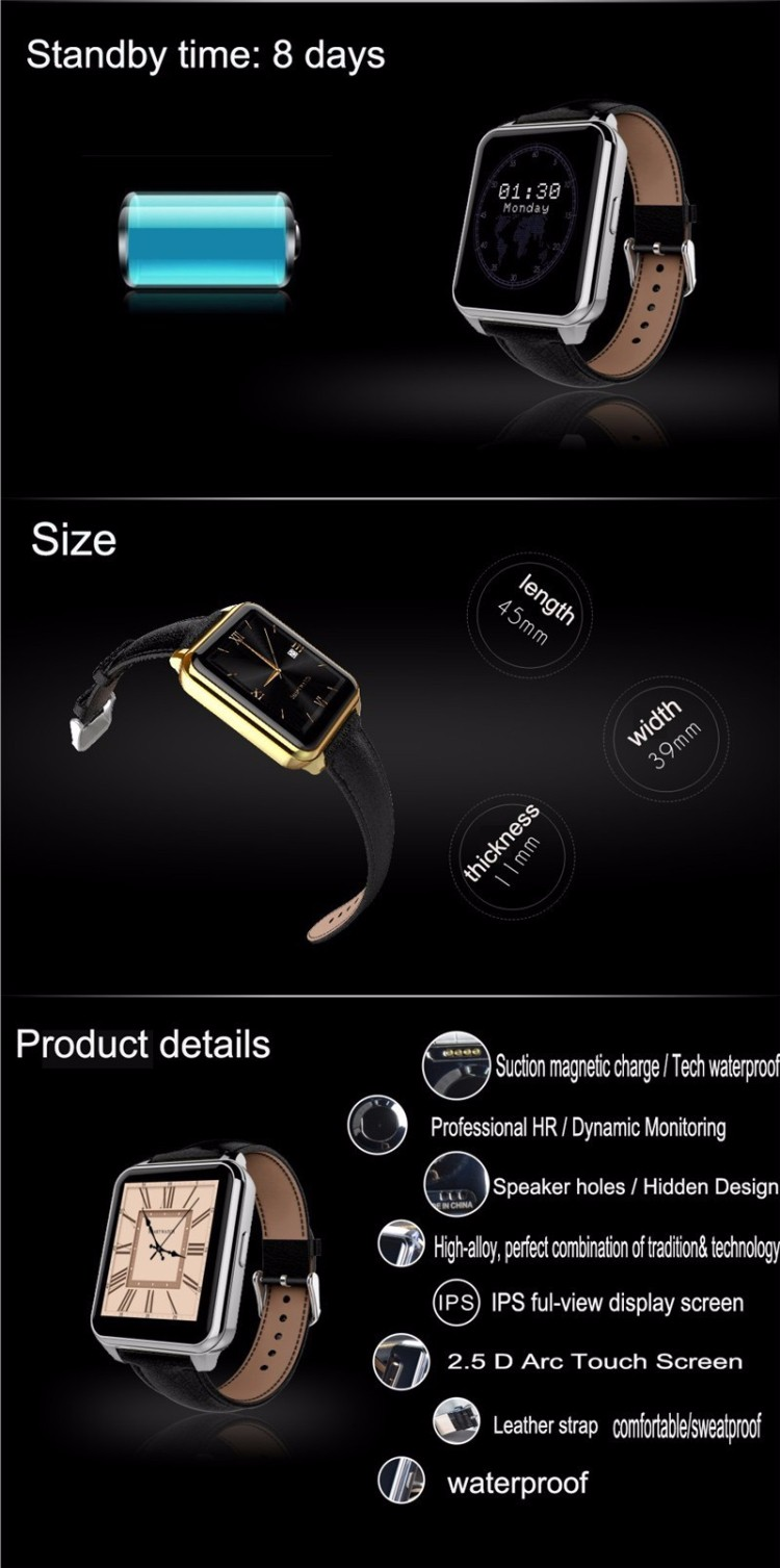 Hot sale! F2 Bluetooth Smart Watch l Heart Rate Fitness smartwatch For /Android Smartphone IP66 waterproof BT4.0 Stainless Stee