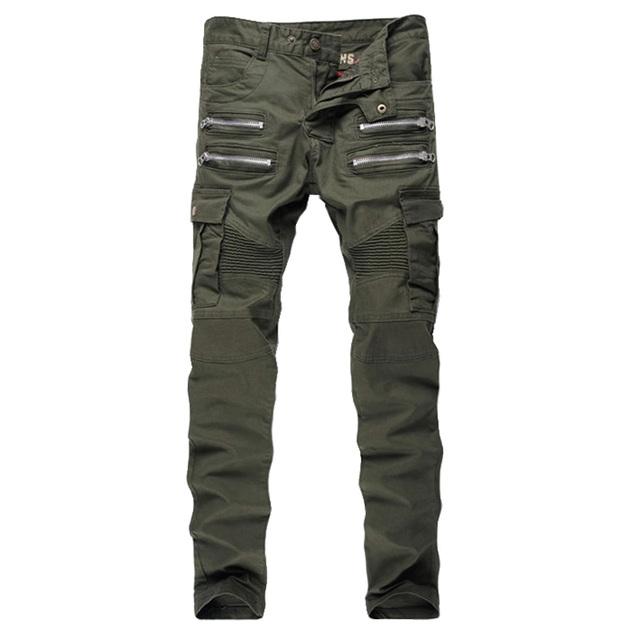 Мужская хаки тонкий стрейч байкер джинсы Мужской молнии и карманы лоскутное плиссированные ...