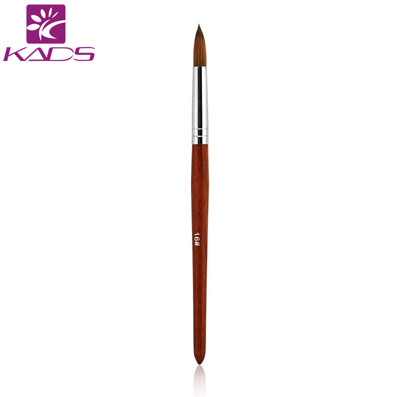 Фотография KADS 5PCS/PACK Size#16 Professional 5pcs/lot Kolinsky Sable Pen With Red Wood Handle Acrylic Nail Brush for Painting Nail