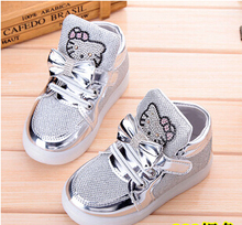 Children Shoes 2016 New Spring Hello Kitty Rhinestone Led Shoes Girls Princess Cute Shoes With Light EU 21-30(China (Mainland))