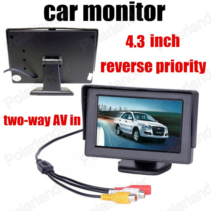 Free shipping New 4.3 inch LCD Color Car Monitor backup rear camera reverse priority two-way AV in(China (Mainland))