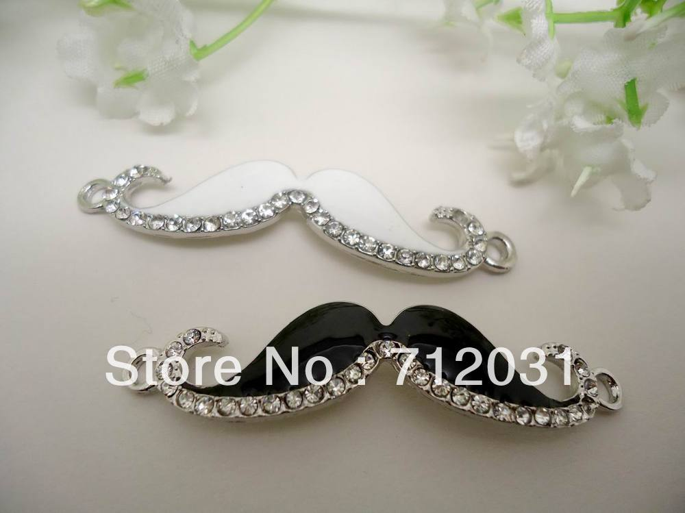 Fashion Jewelry Charm Clear Rhinestones goatee mustache Connector Two Color 24pcs(China (Mainland))